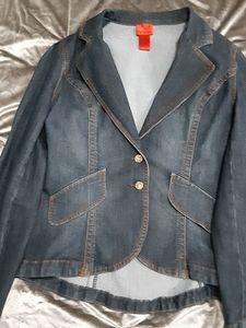 V Cristina Denim high low jacket.